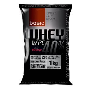 WHEY WPC 40% - 1000g - Morango - Basic Nutrition