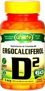 Ergocalciferol (Vitamina D2) - 60 cápsulas - Unilife Vitamins