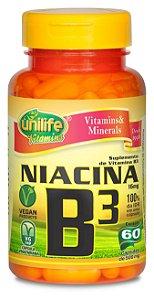 Niacina (Vitamina B3) - 60 cápsulas - Unilife Vitamins