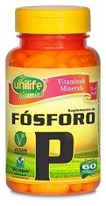 Fósforo P - 60 cápsulas - Unilife Vitamins