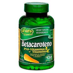 Betacaroteno - 120 cápsulas - Unilife Vitamins