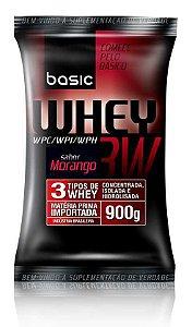 Whey 3W - Refil 900g - Morango - Basic Nutrition