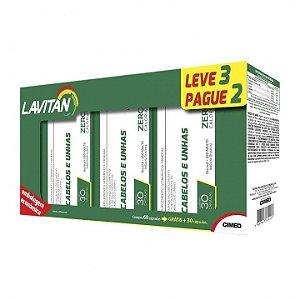 Kit Cabelos e Unhas - 3 frascos de 30 cápsulas - Lavitan Vitaminas