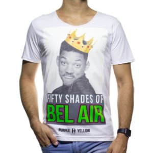 Camiseta Malha Purple Yellow Fifty Shades Of Bel Air Branca