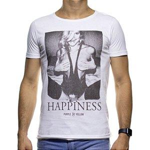 Camiseta Malha Purple Yellow Happiness Branca