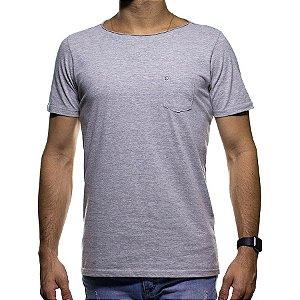 Camiseta de Malha Urbô Cinza Claro com Bolso