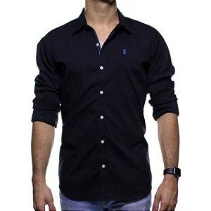 Camisa Social Sergio K Preta com Símbolo Azul Slim Fit