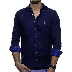 Camisa Social Purple Yellow Marinho com Detalhe Casual Fit