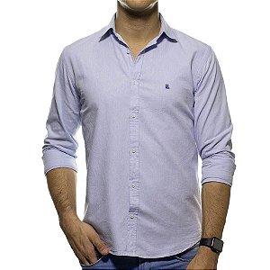 Camisa Social Foxton Mescla Azul Clara Casual Fit
