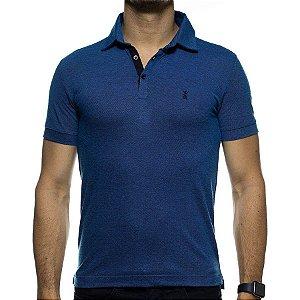 Camisa Polo Sergio K Azul com Textura Preta