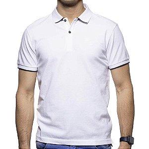 Camisa Polo Richards Branca com Detalhe nos Botões