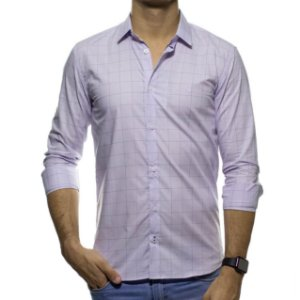 Camisa Social King e Joe Xadrez Lilas Regular Fit