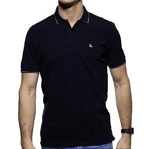 Camisa Polo Piquet Foxton Preta Detalhe na Gola