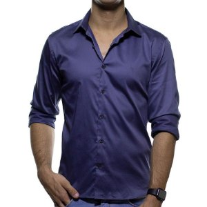 Camisa Social VR Azul Lisa Slim Fit