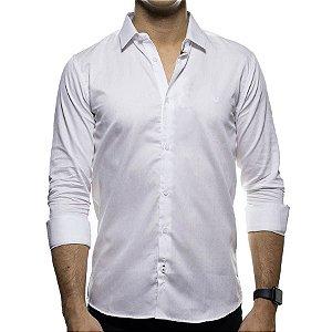 Camisa Social King e Joe Branca Lisa Detalhe no Botão Regular Fit