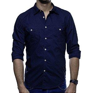 Camisa Social Richards Azul Marinho Com Dois Bolsos Slim Fit