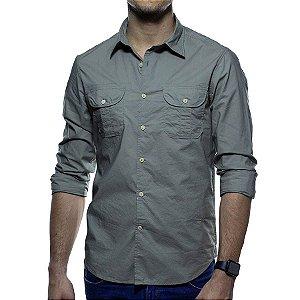 Camisa Social Richards Verde Militar Com Dois Bolsos Slim Fit