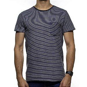 Camiseta de Malha Foxton Listrada e Preta Dois Lados