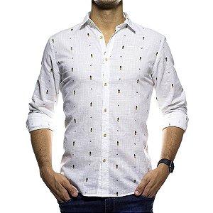 Camisa Social Foxton Geometria Tropical Branca Casual Fit