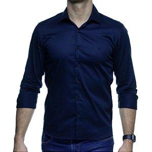 Camisa Social VR Azul Escura Lisa Slim Fit
