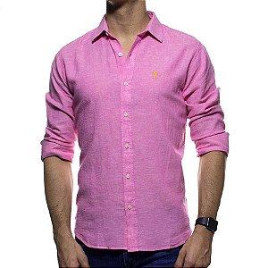 Camisa Social Sergio K Rosa Linho Regular Fit