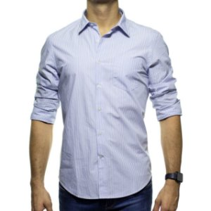 Camisa Social Richards Com Bolso Listrada Azul Regular Fit