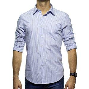 Camisa Social Richards Com Bolso Listrada Azul Regular Fit