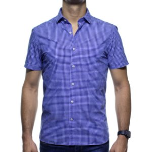 Camisa Social Richards Manga Curta Com Bolso Xadrez Azul Regular Fit