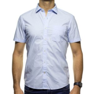 Camisa Social Richards Manga Curta Com Bolso Azul Lisa Regular Fit