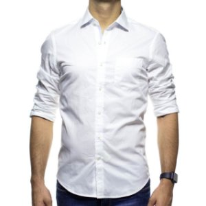 Camisa Social Richards Branca Lisa Com Bolso Regular Fit