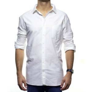 Camisa Social Richards Com Bolso Branca Lisa Regular Fit