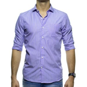 Camisa Social Richards Listrada Azul Com Bolso Regular Fit