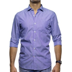 Camisa Social Richards Com Bolso Listrada Lilas Regular Fit
