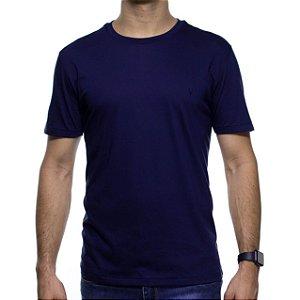 Camiseta de Malha VR Azul Marinho Básica em Algodão Pima
