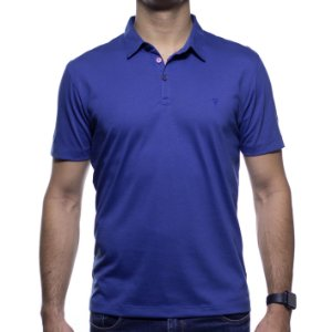 Camisa Polo VR Algodão Pima Azul Basica