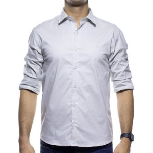 Camisa Social VR Areia Lisa Slim Fit