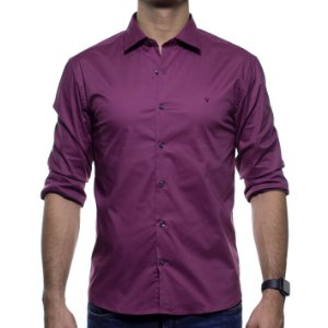 Camisa Social VR Bordô Lisa Slim Fit