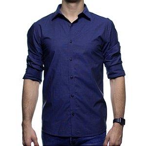 Camisa Social VR Azul Marinho Lisa Slim Fit