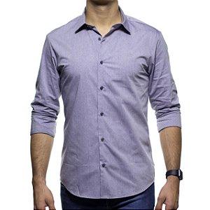 Camisa Social Calvin Klein Slim Cinza