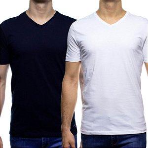 Kit Duas Camisetas Malha Calvin Klein Branca e Preta Gola V 100% Algodão