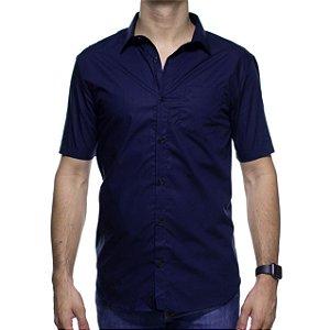Camisa Social Calvin Klein Regular Marinho Maga Curta