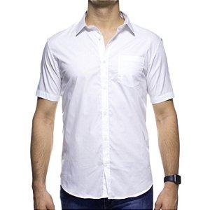 Camisa Social Calvin Klein Regular Branca Maga Curta