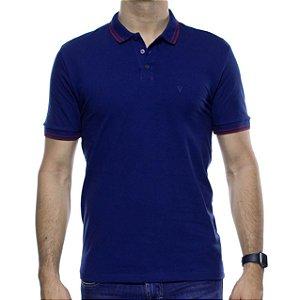 Camisa Polo VR Azul Com Detalhe Bordo Na Gola
