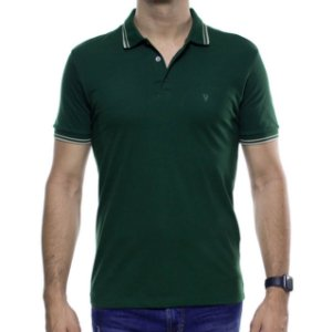 Camisa Polo VR Verde Com Detalhe Creme Na Gola