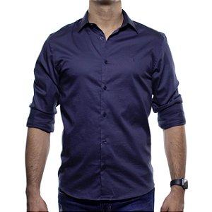 Camisa Social VR Marinho Acetinado Lisa Slim Fit