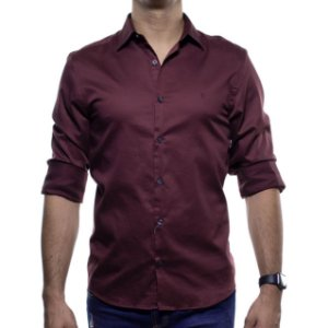 Camisa Social VR Bordô Acetinado Lisa Slim Fit