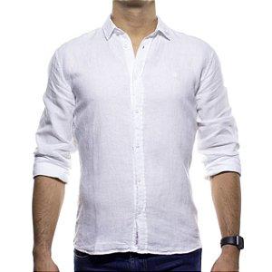 Camisa Social King e Joe Branca Linho com Algodão Regular Fit