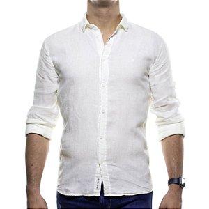 Camisa Social King e Joe Creme Linho com Algodão Regular Fit