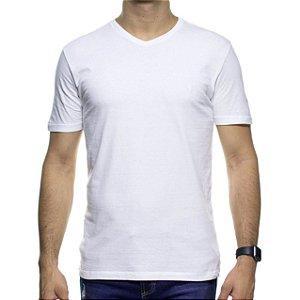 Camiseta de Malha VR Branca Basica Gola V 100% Algodão
