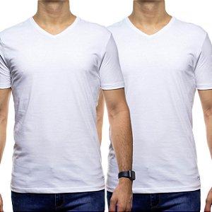 Kit Duas Camisetas Malha Calvin Klein Branca Gola V Algodão com Elastano